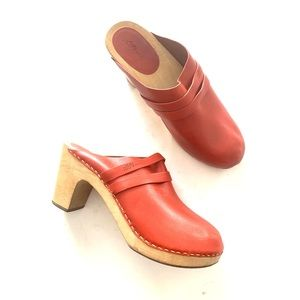 LL Bean Red Leather Wood Clogs Mules